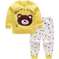 2-piece HAPPY Bear Print Top and Wave Stripes Pants for Baby