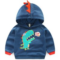 Adorable Baby Dino Applique Hooded Pullover for Boys
