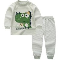 Cute Dinosaur Print Long-sleeve Tee and Striped Pants Set for Baby Boy