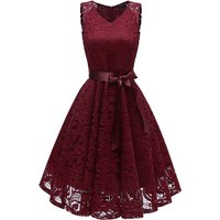 Elegant Solid Lace Sleeveless Party Dress