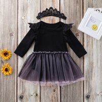 2-piece Long-sleeve Tutu Dress and Hairband Set for Baby Girls