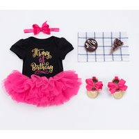 4-piece Glittery Letter Bodysuit Red Tutu Dress Headband and Shoes for Baby Girl