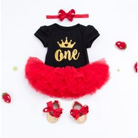 4-piece Glitter Letter Bodysuit Red Tutu Dress Headband and Shoes for Baby Girl