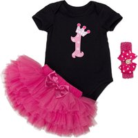 3-piece Birthday Bodysuit Tutu Skirt and Bow Headband for Baby Girl