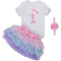 3-piece Birthday Bodysuit Tutu Skirt and Headband for Baby Girl