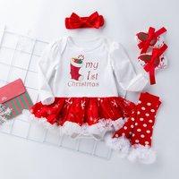 4-piece Christmas Long-sleeve Bodysuit Dress, Shoes, Oversleeves and Headband Set for Baby Girl