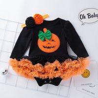 Stylish Pumpkin Print Long-sleeve Dress Bodysuit and Headband Set for Baby Girl