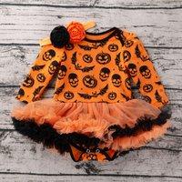 Stylish Pumpkin Patterned Dress Bodysuit and Headband Set for Baby Girl