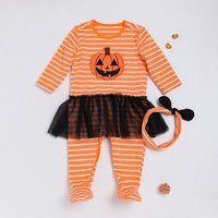 Sassy Halloween Pumpkin Striped Footed Jumpsuit and Headband for Baby Girl