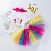 3-piece Fashionable Cartoon Print Bodysuit, Tulle Skirt and Bow Headband Set