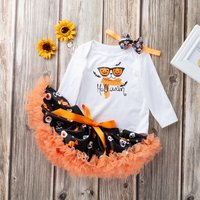 3-piece Stylish Halloween Pumpkin Pattern Bodysuit Tulle Skirt and Bow Headband Set