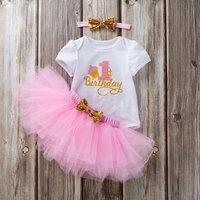 3-piece Fashionable 1 St Birthday Pattern Bodysuit Tulle Skirt Bow Headband Set