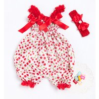2-piece Lovely Patterned Bow Decor Shirred Strap Jumpsuit with Headband