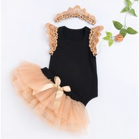 3-piece Solid Lace-sleeve Bodysuit, Tulle Skirt and Headband Set
