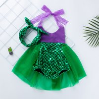 Fashionable Mermaid Design Tulle Splicing Backless Halter Bodysuit with Headband