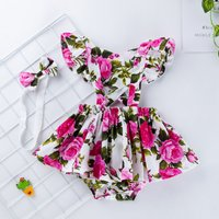 2-piece Pretty Floral Print Ruffled Flutter-sleeve Dress and Bow Headband Set