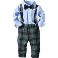 4-piece Handsome Long-sleeve Shirt, Plaid Pants, Suspender and Bowtie Set for Toddler Boy