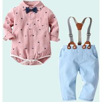 Cute Allover Plane Bow Tie Long-sleeve Bodysuit and Pants for Baby and Toddler