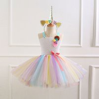 Pretty 3D Floral Decor Tulle Dress and Unicorn Headband Set for Baby Girl and Girl