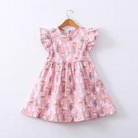 Beautiful Rabbit Pattern Ruffled Sleeves Dress in Pink