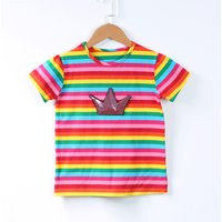 Pretty Sequin Crown Rainbow Stripes Tee for Toddler Girls