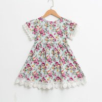 Trendy Floral Lace Splicing Short-sleeve Dress for Toddler Girl and Girl