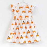 Lovely Fox Print Sleeveless Dress for Girls