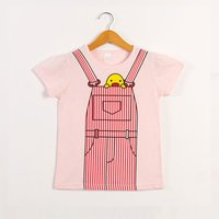 Stylish Faux Overalls Striped Cartoon Duck Short-sleeve Tee