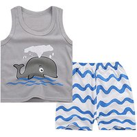 Adorable Whale Print Tank Top and Wave Striped Shorts Set for Baby Boy