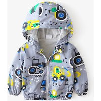 Stylish Car Patterned Long-sleeve Hooded Jacket for Toddler Boy