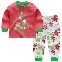 2-piece Christmas Graphic Long-sleeve Top and Stars Patterned Pants Set for Baby