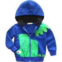 Trendy Dinosaur Applique Zip-up Hooded Jacket for 2-5 Years Baby
