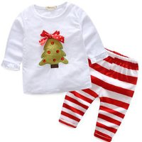 2-piece Christmas Tree Applique Top and Striped Pants Set for 6-9 M