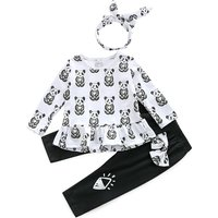 3-piece Casual Panda Patterned Top, Headband and Pants Set for 3-4 Years