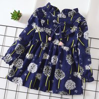Stunning Ruffled Dandelion Patterned Bow Pompon Decor Dress