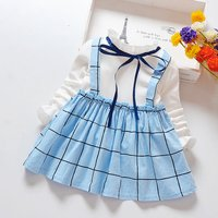 Elegant Plaid Tie-up Ruffled Faux-two Dress