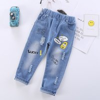 Baby / Kid Cartoon Letter Print Frayed Jeans