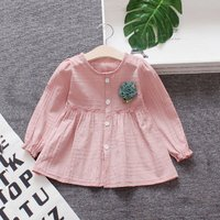 Cute Solid 3D Flower Decor Long-sleeve Dress for Baby and Toddler Girl