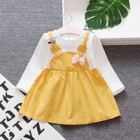Pretty Dotted faux-two Bow Decor Long-sleeve Dress for Baby and Toddler Girl