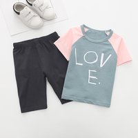 Comfy Color-blocking LOVE Print Short-sleeve T-shirt and Shorts Set for Toddler Boy and Boy