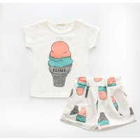 2-piece Cute Ice Cream Print Short-sleeve Top and Shorts for Girls