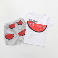 Trendy Watermelon Print Short-sleeve Tee and Shorts Set for Baby and Toddler Boy