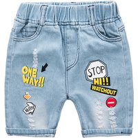 Cool Letter Print Denim Shorts for Toddlers