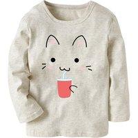 Fun Cat Print Long-sleeve Top for Toddler Girl and Girl