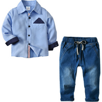 Stylish Long-sleeve Shirt and Jeans Set for Baby Boy and Boy