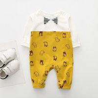 Soft Lovely Cat Print Long-sleeve Jumpsuit for Baby Boy