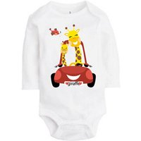 Lovely Giraffe Print Long-sleeve Romper for Baby