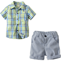 Trendy Plaid Short-sleeve Shirt and Striped Shorts Set for Baby Boy and Boy