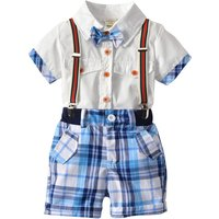 Handsome Bowknot Short-sleeve Top and Plaid Suspender Set for Toddler Boy