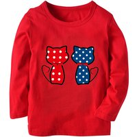 Cute Cat Print Long-sleeve Top for Toddler Girl and Girl